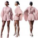 2017 Summer Rompers Womens Kimono Jumpsuit Sexy pagoda Sleeve Short Romper Beach High Waist Backless
