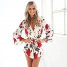 Chafferer New Summer Elegant Rompers Women\'s Jumpsuit Long Trousers Explosion Printing Sexy V-colla