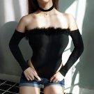 Sexy Faux Fur Slash Neck Bodysuit Women Long Sleeve Off The Shoulder Skinny Slim Playsuit Backless J