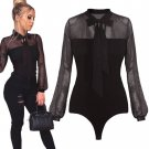 Black Crochet Lace Transparent Sheer Rompers Womens Jumpsuit Casual Loose Playsuit Hollow Out Macaca