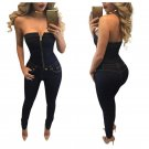 Strapless Zipper Jumpsuit Women Sexy Backless Sleeveless Playsuit Sexy Party Rompers Shorts Overalls