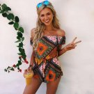 Summer Women Sexy Bodysuits National Style Casual Off Shoulder Romper with Special Print Pattern 201