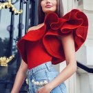 One Shoulder Women Jumpsuit Sexy Bodycon Solid Fitness Ruffle Bodysuit Beach Rompers Evening Party J