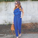 2017 Summer Sexy Women Oblique Jumpsuits One Shoulder Chiffon Beach Ruffles Loose Blue Jumpsuit Casu