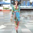 High quality fashion print Loose Casual long dress New women 2017 Full sleeves  Beading summer runwa