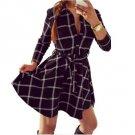 Women Plaid Check Print Spring Casual Shirt Dress Mini