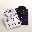 Dioufond Print Women\'s Long Sleeve Blouse Shirts Lipstick Floral Ladies Blouses Cotton Fashion Blus