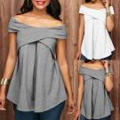 Women Off The Shoulder Short Sleeve Sweatshirt Pullover Tops Blouse Shirt