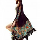 Summer Autumn Long Cardigan Blusas Women Vintage Boho Floral Tassel Beach Cover Up Tops Chiffon Blou