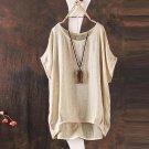 4XL 5XL Batwing Sleeve Loose Plus Size Blouse Cotton Linen Casual O Neck Womens Blouses Tops Vintage