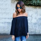 Sexy Women Off Shoulder Lace Strapless T Shirt Summer Casual Loose Top Blouse