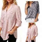 Women Fashion 3/4 Sleeve V neck Blouse Polka Dot Print Turndown Collar Shirt