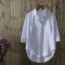 100% cotton Women Striped Blouse 2018 New Casual Cotton Blue Shirt Woman Office Shirts Excellent Qua