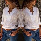 Fashion Women V Neck Long Sleeve Cotton Linen T-shirt Casual Blouse Tops