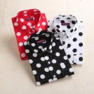 Dioufond Red Polka Dot Women Shirts Formal Work Ladies Blouses Cotton Long Sleeve Vintage Shirt Plus