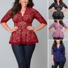 5XL Large sizes women clothing Summer Lace Floral Half Sleeve Blouse women V-Neck Sexy club Office T