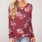Womens V-Neck Long Sleeve Cotton Print Fashion Bllouse T-Shirt Tank Tops