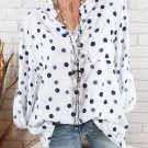 Spring Summer Shirts Women Casual Adjustable Long Sleeve Polka Dot Print Stand Collar Pockets Button