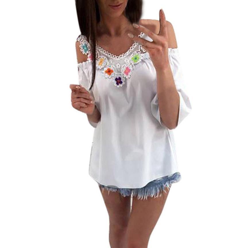 Summer Autumn Fashion Blouse Women\'s Lace Tops Half Sleeve Shirt Casual V-Neck Applique Blouse shir