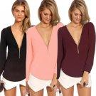 Spring Summer Women Sexy Deep V Neck Chiffon Long Sleeve Slim Basic Shirt Tops Blouse Street Fashion