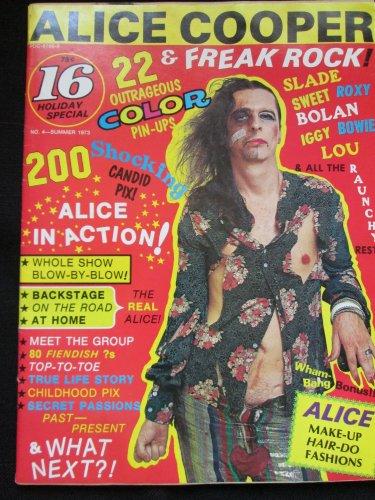 16 Magazine-Alice Cooper & Freak Rock, Holiday Special 1973 (Vintage)