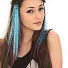Magenta Turquoise Black Striped Hair Extension 2 pack