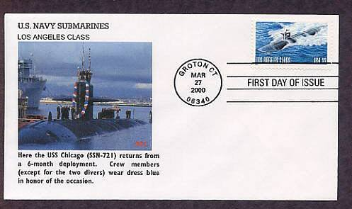 Navy Nuclear Submarine, USS Chicago SSN-721 2000, First Issue USA FDC