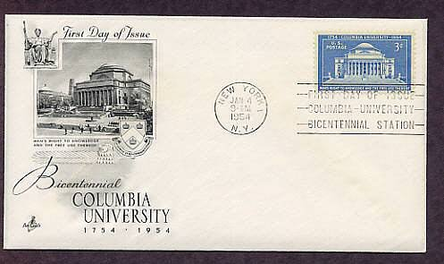 Columbia University Anniversary 1954 New York First Issue USA