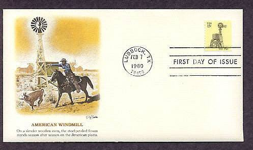 Texas Windmill, Cowboy on Horse, Western, First Issue USA