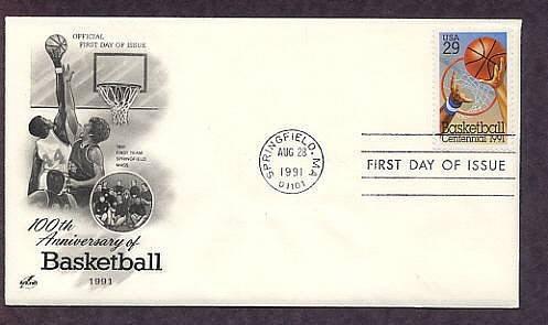 Basketball Centennial, Springfield, First Issue FDC USA