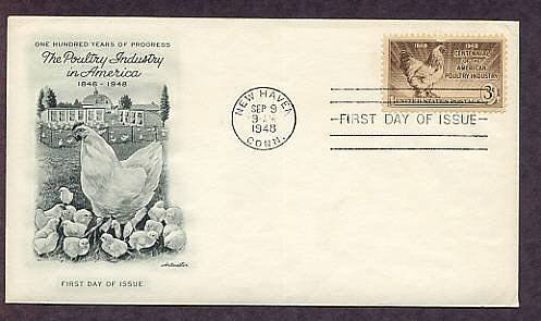 American Poultry Industry, Chicken, Hen and Chicks, 1948 FDC First Issue USA