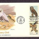 American Owls Great Horned, Barred, Great Gray, Saw-wet, Snowy, First Issue USA