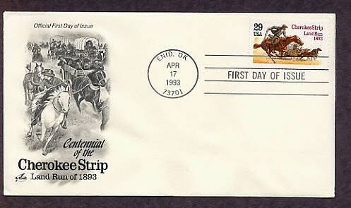Cherokee Strip Land Run, Oklahoma, Western Cowboy on Horse, First Issue FDC USA