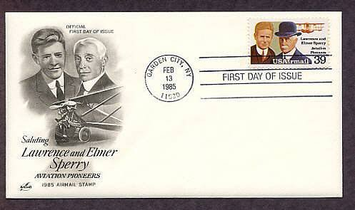 Lawrence and Elmer Sperry, Aviation Airmail USPS First Issue USA