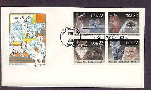 Cats, Siamese, Himalayan, Maine Coon, Persian Shorthair, Abyssinian, Burmese, HF First Issue USA