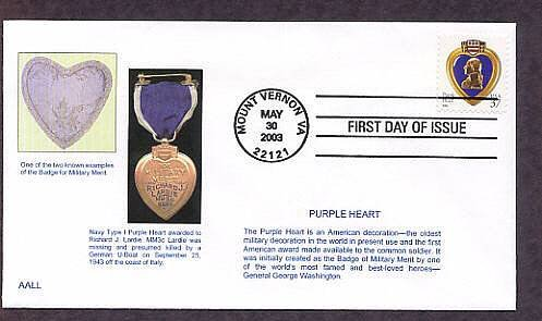 The Purple Heart Military Medal, George Washington, First Issue USA FDC
