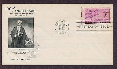 Morse Telegraph, Morse Code, First Message 1944, First Issue FDC USA