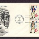 Bicentennial Revolutionary War Uniforms Army Navy Marine Militia First Day Cover 1975 USA