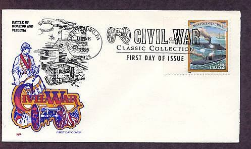Civil War Battle Union Monitor and Confederate CSS Virginia, Ironclad Warships First Issue USA