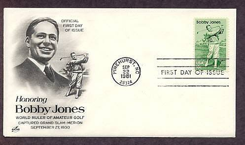 Honoring Bobby Jones, Golf Legend, Pinehurst, North Carolina 1981 First Issue USA
