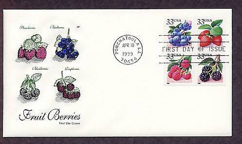 Fruit Berries, Strawberry, Blueberry, Raspberry, Blackberry, First Issue USA