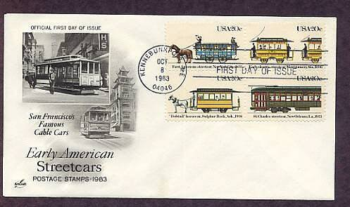 Early American Streetcars, New York, Alabama, Louisiana, Arkansas, First Issue USA