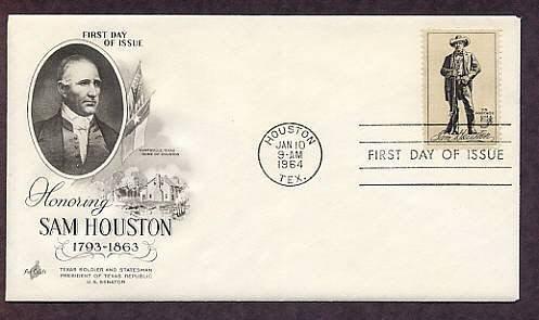 Honoring Sam Houston, Texas, American Hero, First Issue USA