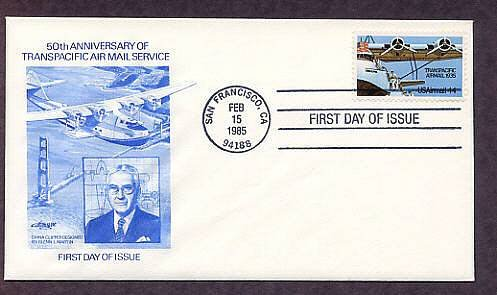 50th Anniversary of Transpacific Airmail Service, China Clipper, Glenn L. Martin, First Issue FDC