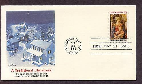 1984 USPS Christmas Stamp, Madonna and Child, Artist Fra Filippo Lippi, First Issue USA