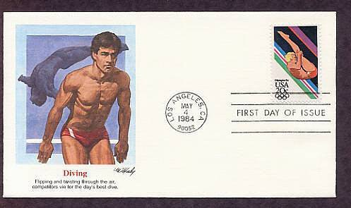 Summer Olympics 1984, Diving, First Issue USA