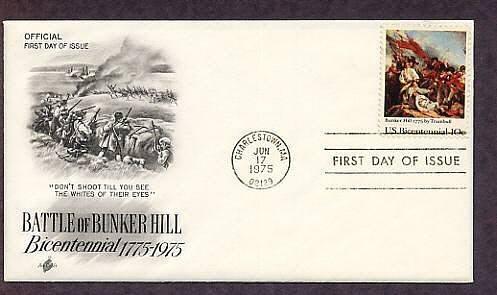 Bicentennial, American Revolution Battle of Bunker Hill, First Issue USA