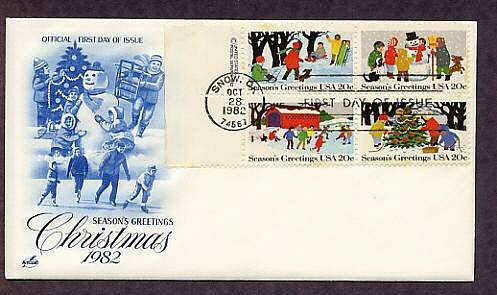 USPS Christmas Stamps, 1982, Children Sledding, Building a Snowman, Ice Skating, Trimming a Tree
