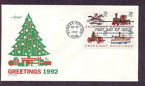 Christmas Stamps USPS, Antique Toys, Horse and Rider, Train, Fire Pumper, Ship, 1992 First Issue USA