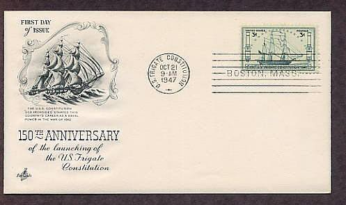 U.S.S. Frigate Constitution Old Ironsides Sail Ship 1947 First Issue FDC USA
